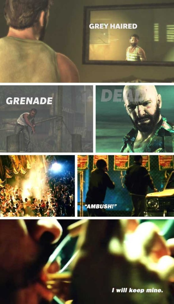 The above images are from Max Payne 3, juxtaposed with the lower images from the movie Man On Fire by the late Tony Scott. Source: GamesRadar.com